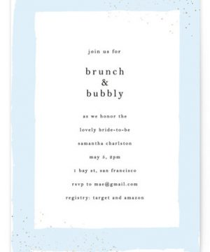 Brunch And Bubbly Foil-Pressed Bridal Shower Invitations