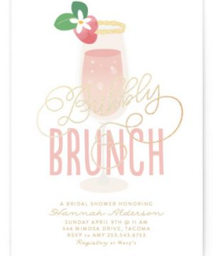 Bubbly & Brunch Foil-Pressed Bridal Shower Invitations