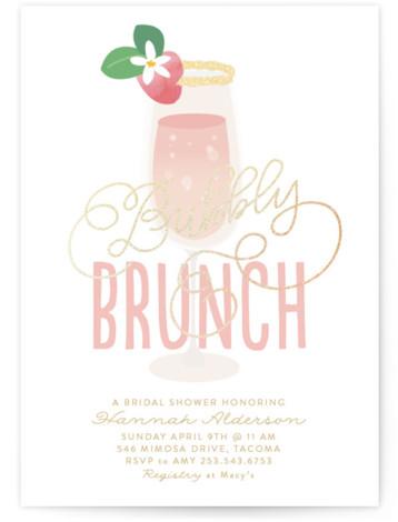 Bubbly & Brunch Foil-Pressed Bridal Shower Invitations