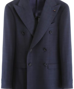 CC COLLECTION CORNELIANI DECONSTRUCTED TARTAN BLAZER 46 Blue, Grey Wool