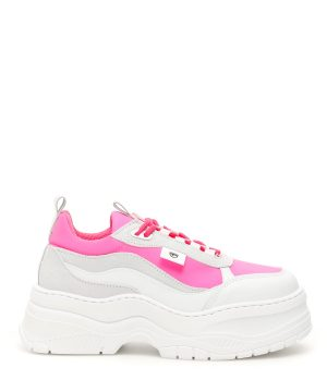 CHIARA FERRAGNI PLATFORM SNEAKERS 35 White, Grey, Fuchsia Leather, Technical
