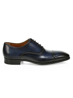 COLLECTION BY MAGNANNI Burnished Leather Cap Toe Dress Shoes