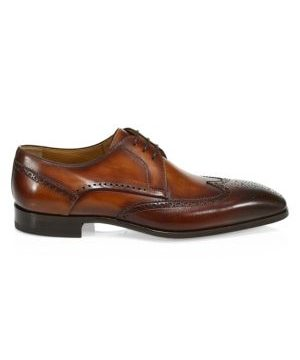 COLLECTION BY MAGNANNI Leather Wingtip Blucher Dress Shoes