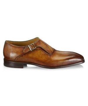 COLLECTION Laser-Cut Monk Strap Leather Dress Shoes