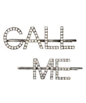 Call Me embellished hair clips