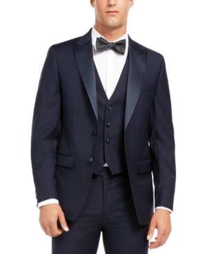 Calvin Klein Men's Slim-Fit Stretch Navy Tuxedo Suit Separate Jacket