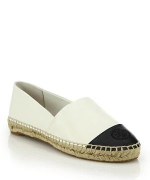 Cap-Toe Colorblock Leather Espadrilles