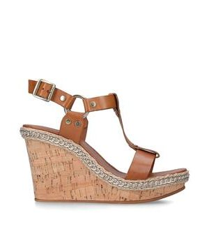 Carvela Karolina - Tan High Heel Wedge Sandals