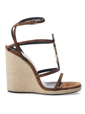 Cassandra Leather Espadrille Wedge Sandals