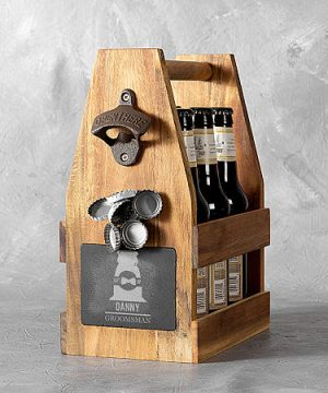 Cathy's Concepts Personalized Groomsmen Beer Carrier, One Size , Brown