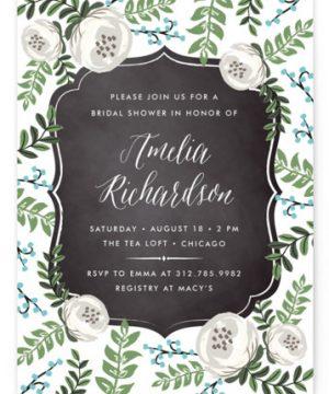 Chalkboard Florals Bridal Shower Invitations