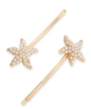 Charter Club 2-Pc. Gold-Tone Imitation Pearl Starfish Hair Pin Set, Created for Macy's
