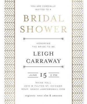 Chevron Foil-Pressed Bridal Shower Invitations
