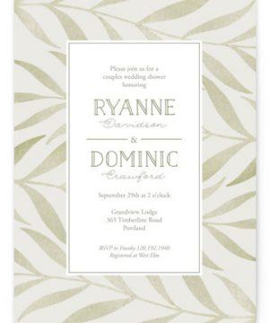 Chevron Greenery Bridal Shower Invitations