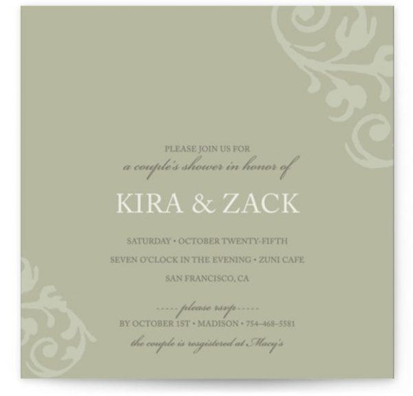 Chocolat Et Creme Bridal Shower Invitations