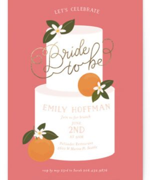 Citrus And Cake Foil-Pressed Bridal Shower Invitations