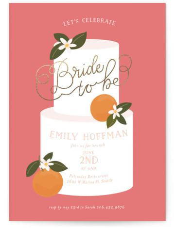Citrus And Cake Foil-Pressed Bridal Shower Invitations