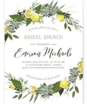 Citrus & Greens Bridal Shower Invitations