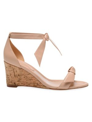 Clarita Bow Leather Wedge Sandals