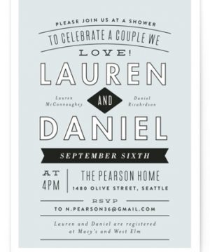 Clean Cut Bridal Shower Invitations