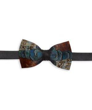 Colleton Grosgrain & Pheasant Feather Bow Tie