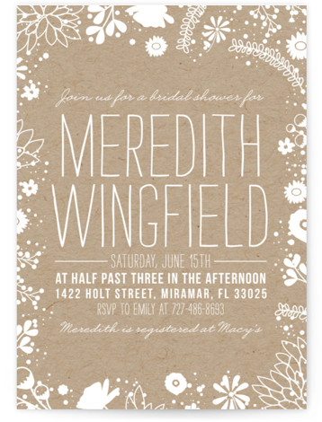 Craft And Florals Bridal Shower Invitations