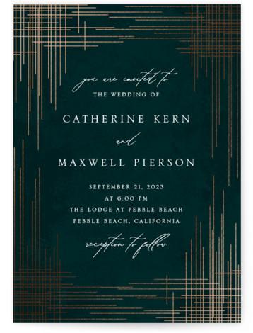 Criss Cross Foil-Pressed Wedding Invitations