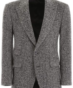 DOLCE & GABBANA CHEVRON WOOL BLAZER 50 Black, Grey Wool