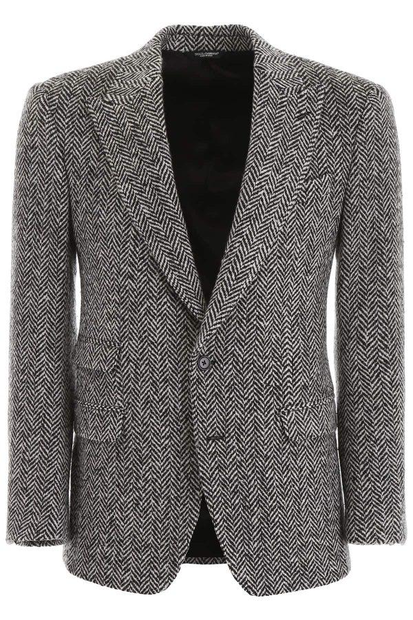 DOLCE & GABBANA CHEVRON WOOL BLAZER 50 Black, Grey Wool