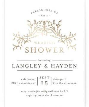 DUO Foil-Pressed Bridal Shower Invitations