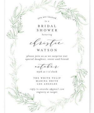 Dainty Green Bride Bridal Shower Invitations