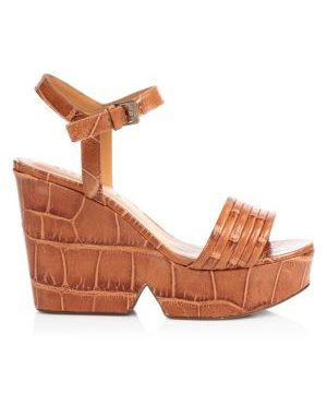 Dany Croc-Embossed Leather Platform Wedge Sandals