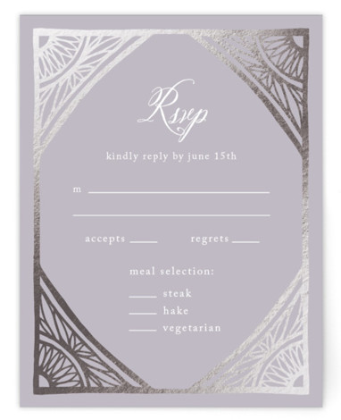Deco Corners Foil-Pressed RSVP CardsP Cards