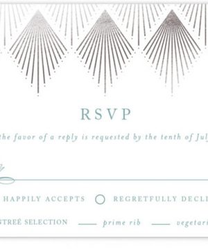Deco Fan Border Foil-Pressed RSVP CardsP Cards