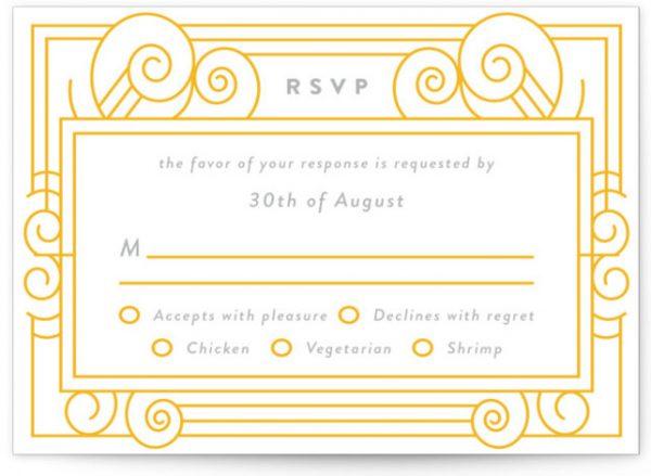 Deco Swirls Letterpress RSVP CardsP Cards