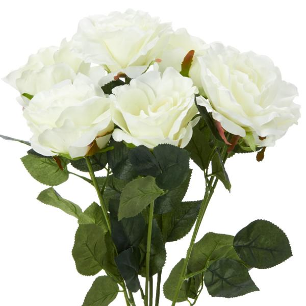 "Decostar Artificial Deluxe Rose Large Flower Bush 20"" - 12 Pieces - Cream"