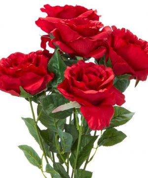 """Decostar Artificial Deluxe Rose Large Flower Bush 20"""" - 12 Pieces - Red"""