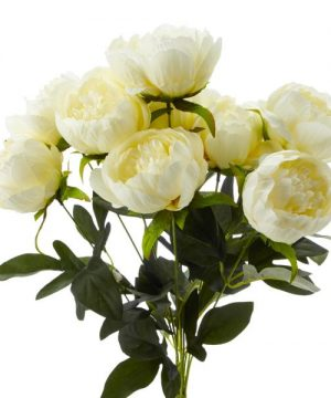 Decostar Artificial Flower Bouquet - Cream Peony - 12 Pieces