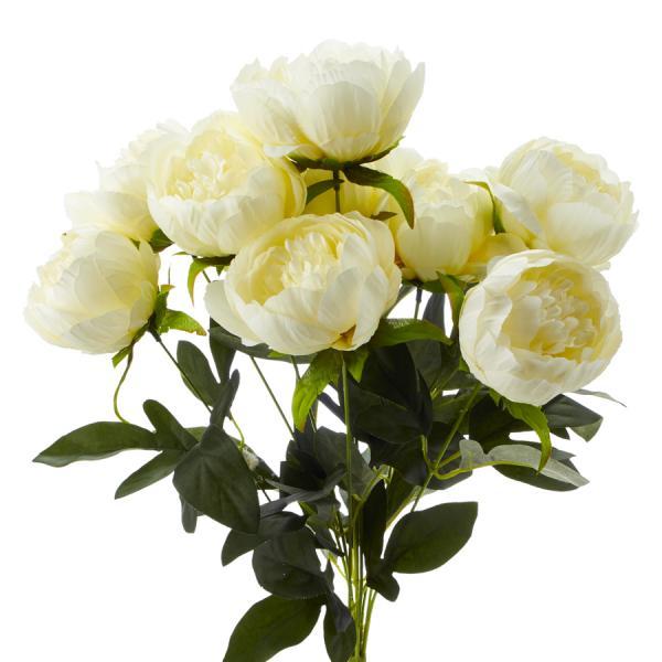 Decostar Artificial Flower Bouquet - Cream Peony - 12 Pieces