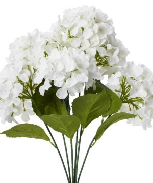 "Decostar Artificial Hydrangea Bouquet 22½"" - 24 Pieces - White"
