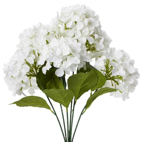 "Decostar Artificial Hydrangea Bouquet 22½"" - 24 Pieces - White"
