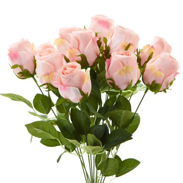 "Decostar Artificial Rose Branch 10 x 18¼"" - 12 Pieces - Pink"