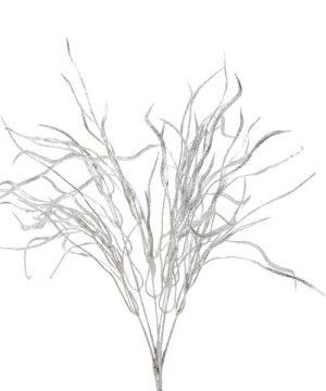 """Decostar Glitter Flat Leaf Spray 22"""" - Silver - 48 Pieces"""