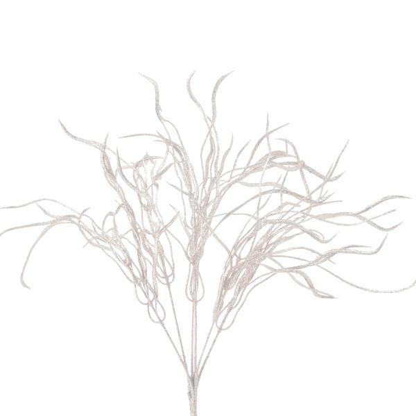"""Decostar Glitter Flat Leaf Spray 22"""" - White Iridescent- 48 Pieces"""