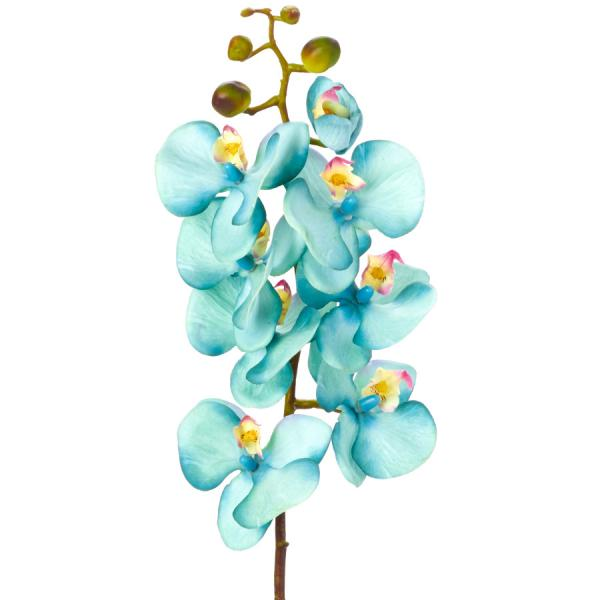 """Decostar Phalaenopsis Faux Orchid Spray 30¾"""" - 12 Pieces - Turquoise"""