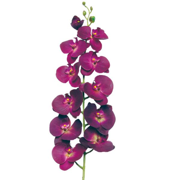 """Decostar Phalaenopsis Orchid Natural Touch Spray Stem 50"""" - 12 Pieces - Plum"""