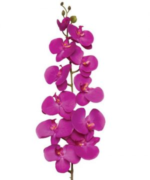"Decostar Phalaenopsis Orchid Natural Touch Spray Stem 50"" - 12 Pieces - Purple"