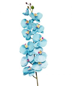 """Decostar Phalaenopsis Orchid Natural Touch Spray Stem 50"""" - 12 Pieces - Turquoise"""