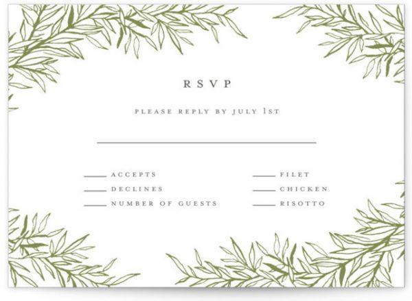 Delicate Vines Letterpress RSVP CardsP Cards