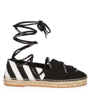 Diagonal Stripe Canvas Espadrilles